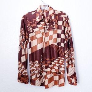 70s Vintage Mens Retro Disco Chess Button Up Shirt
